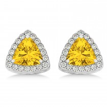 Trilliant Cut Yellow Sapphire & Diamond Halo Earrings 14k White Gold (0.93ct)