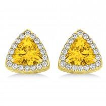 Trilliant Cut Yellow Sapphire & Diamond Halo Earrings 14k Yellow Gold (0.93ct)