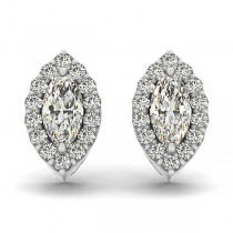 Marquise-shape Diamond Halo Stud Earrings 14k White Gold (0.75ct)