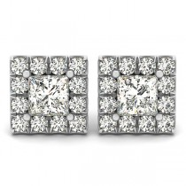 Diamond Princess-cut Halo Stud Earrings 18k White Gold (1.85ct)