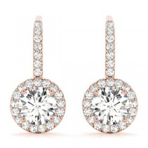 Round Diamond Halo Dangling Earrings 14k Rose Gold (0.73ct)