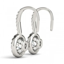 Round Diamond Halo Dangling Earrings 14k White Gold (0.73ct)