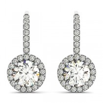 Round Diamond Halo Dangling Earrings 14k White Gold (1.22ct)