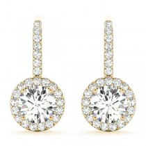 Round Diamond Halo Dangling Earrings 14k Yellow Gold (1.22ct)
