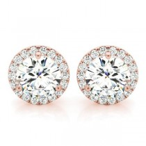 Round Diamond Halo Stud Earrings 14k Rose Gold (2.22ct)