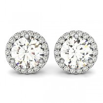 Round Diamond Halo Stud Earrings 14k White Gold (2.22ct)