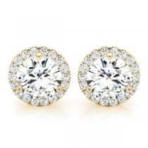 Round Diamond Halo Stud Earrings 14k Yellow Gold (3.31ct)