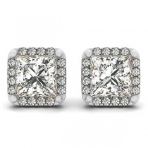 Diamond Princess-cut Square Halo Stud Earrings 18k White Gold (1.70ct)