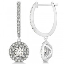 Diamond Double Halo Round Dangle Earrings in 14k White Gold (1.00ct)