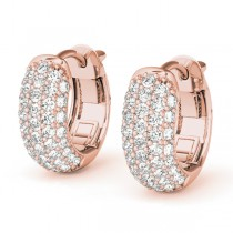 Huggie Round Diamond Pave Earrings Hoops 14k Rose Gold (0.42ct)