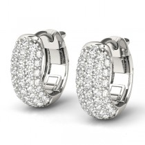 Huggie Round Diamond Pave Earrings Hoops 14k White Gold (0.42ct)