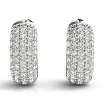Huggie Round Diamond Pave Earrings Hoops 14k White Gold (0.42ct)|escape
