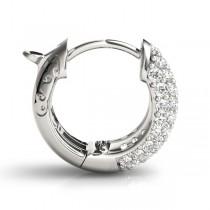 Huggie Round Diamond Pave Earrings Hoops 14k White Gold (0.42ct)