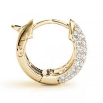 Huggie Round Diamond Pave Earrings Hoops 14k Yellow Gold (0.84ct)