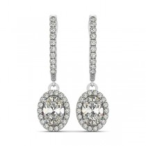 Oval Cut Halo Diamond Drop Earrings in 14k White Gold (1.40ct)