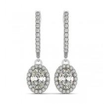 Oval Cut Halo Diamond Drop Earrings in 14k White Gold (1.40ct)
