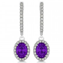 Oval Halo Diamond & Amethyst Drop Earrings in 14k White Gold 1.30ct