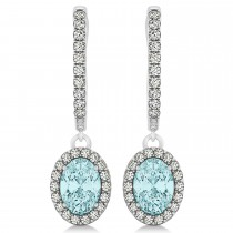 Oval Halo Diamond & Aquamarine Drop Earrings in 14k White Gold 1.20ct