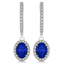 Oval Halo Diamond & Blue Sapphire Drop Earrings in 14k White Gold 1.60ct