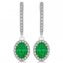 Oval Halo Diamond & Emerald Drop Earrings in 14k White Gold 1.44ct