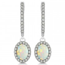 Oval Halo Diamond & Opal Drop Earrings in 14k White Gold 0.96ct