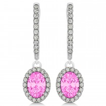 Oval Halo Diamond & Pink Sapphire Drop Earrings in 14k White Gold 1.60ct
