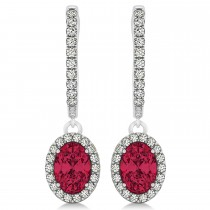 Oval Halo Diamond & Ruby Drop Earrings in 14k White Gold 1.60ct