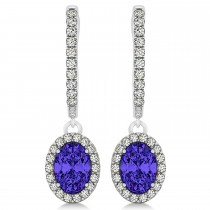 Oval Halo Diamond & Tanzanite Drop Earrings in 14k White Gold 1.60ct