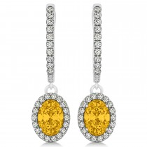 Oval Halo Diamond & Yellow Sapphire Drop Earrings in 14k White Gold 1.60ct