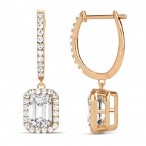 Emerald Shape Diamond Halo Dangling Earrings 14k Rose Gold (1.50ct)