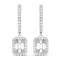 Emerald Shape Diamond Halo Dangling Earrings 14k White Gold (1.50ct)