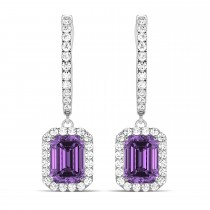 Emerald Shape Amethyst & Diamond Halo Dangling Earrings 14k White Gold (1.60ct)