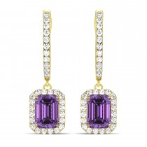 Emerald Shape Amethyst & Diamond Halo Dangling Earrings 14k Yellow Gold (1.60ct)
