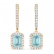 Emerald Shape Aquamarine & Diamond Halo Dangling Earrings 14k Rose Gold (1.50ct)