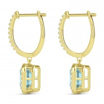 Emerald Shape Aquamarine & Diamond Halo Dangling Earrings 14k Yellow Gold (1.50ct)