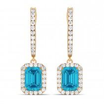 Emerald Shape Blue Diamond & Diamond Halo Dangling Earrings 14k Rose Gold (1.50ct)