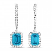 Emerald Shape Blue Diamond & Diamond Halo Dangling Earrings 14k White Gold (1.50ct)