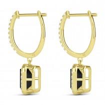 Emerald Shape Black Diamond & Diamond Halo Dangling Earrings 14k Yellow Gold (1.50ct)