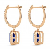 Emerald Shape Blue Sapphire & Diamond Halo Dangling Earrings 14k Rose Gold (1.90ct)