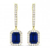 Emerald Shape Blue Sapphire & Diamond Halo Dangling Earrings 14k Yellow Gold (1.90ct)
