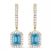 Emerald Shape Blue Topaz & Diamond Halo Dangling Earrings 14k Rose Gold (1.80ct)