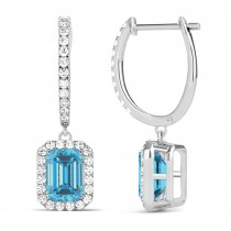 Emerald Shape Blue Topaz & Diamond Halo Dangling Earrings 14k White Gold (1.80ct)