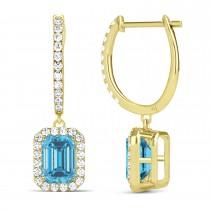 Emerald Shape Blue Topaz & Diamond Halo Dangling Earrings 14k Yellow Gold (1.80ct)