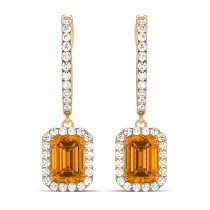 Emerald Shape Citrine & Diamond Halo Dangling Earrings 14k Rose Gold (1.60ct)