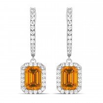 Emerald Shape Citrine & Diamond Halo Dangling Earrings 14k White Gold (1.60ct)