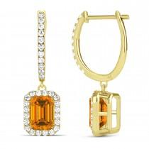 Emerald Shape Citrine & Diamond Halo Dangling Earrings 14k Yellow Gold (1.60ct)
