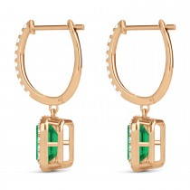 Emerald Shape Emerald & Diamond Halo Dangling Earrings 14k Rose Gold (1.70ct)