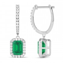 Emerald Shape Emerald & Diamond Halo Dangling Earrings 14k White Gold (1.70ct)