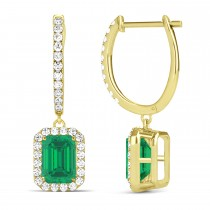 Emerald Shape Emerald & Diamond Halo Dangling Earrings 14k Yellow Gold (1.70ct)