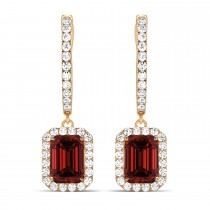 Emerald Shape Garnet & Diamond Halo Dangling Earrings 14k Rose Gold (2.10ct)
